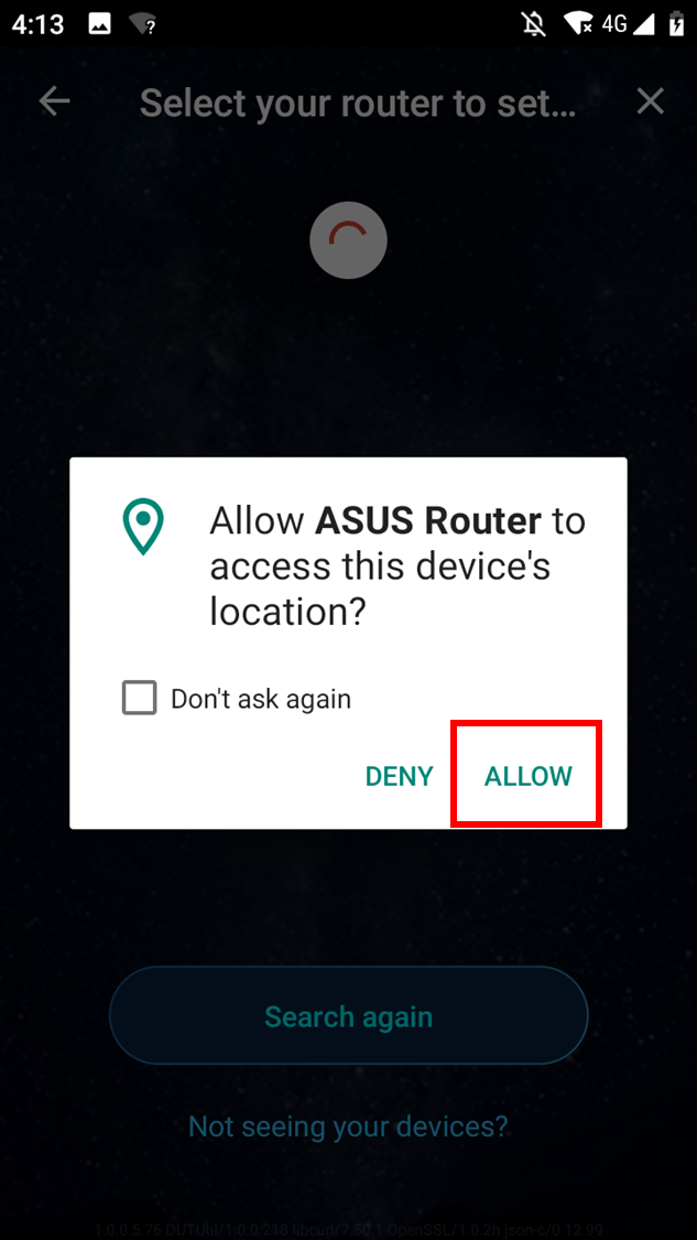 """Choose """"Allow"""" to proceed the setup."""