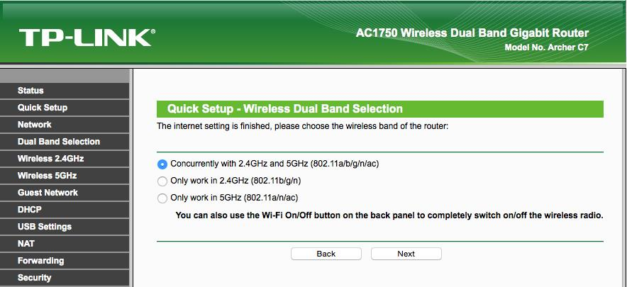 TPLINK-router_setup_2.4GHz and 5GHz selection