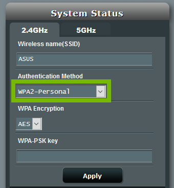 ASUS router SSID name change