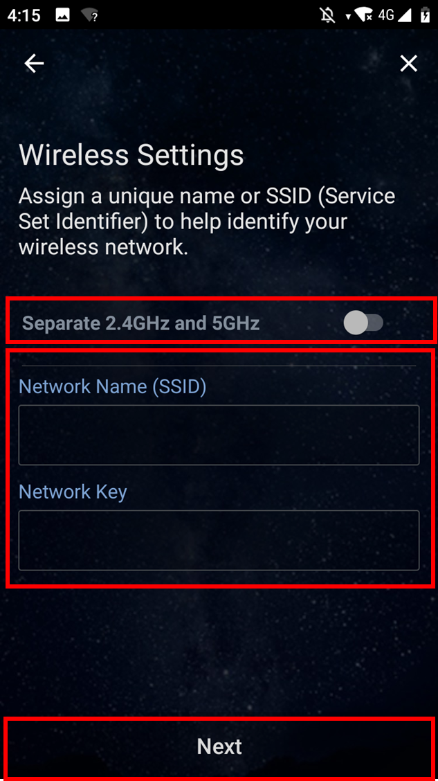 network name(SSID) and password asus router app