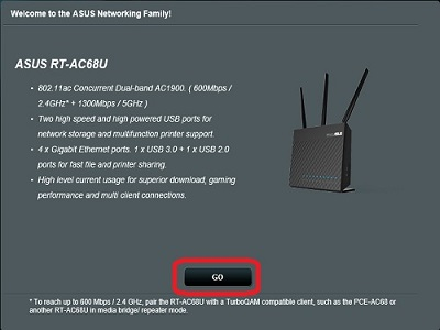 Asus Router Setup page
